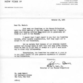 Warhol rejection letter from MOMA